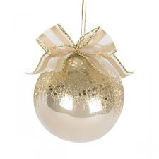 Shatterproof Pearl And Gold Decorated Bauble - 80mm