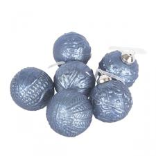 Pack Of 6 Patterned Night Blue Glass Baubles - 60mm