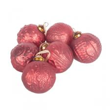 Pack Of 6 Patterned Christmas Red Glass Baubles - 60mm