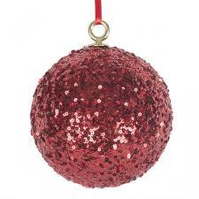 Red Sequin Ball Hanger - 140mm