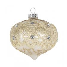 Matt Ivory Glass Bauble Decorated With Gold Glitter And Beads - Onion