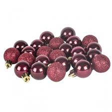 Burgundy Mixed Finish Shatterproof Baubles - 24 X 30mm