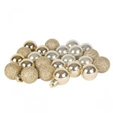 Champagne Gold Mixed Finish Shatterproof Baubles - 24 X 30mm