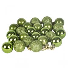 Green Mixed Finish Shatterproof Baubles - 24 X 30mm