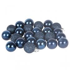 Midnight Blue Mixed Finish Shatterproof Baubles - 24 X 30mm