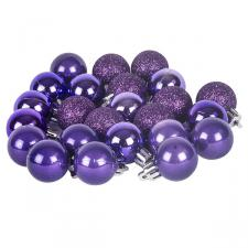 Purple Mixed Finish Shatterproof Baubles - 24 X 30mm
