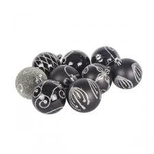 Pack Of Black Decorated Shatterproof Baubles - 9 X 60mm