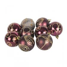 Pack Of Burgundy Decorated Shatterproof Baubles - 9 X 60mm