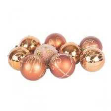 Pack Of Copper Decorated Shatterproof Baubles - 9 X 60mm