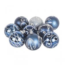 Pack Of Midnight Blue Decorated Shatterproof Baubles - 9 X 60mm
