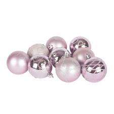 Pack Of Pink Decorated Shatterproof Baubles - 9 X 60mm