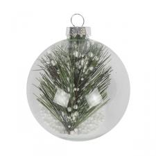 Clear Glass Bauble Range With Pine Sprig - Ball