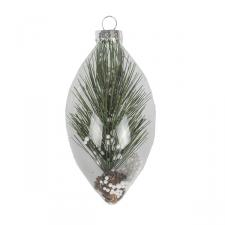 Clear Glass Bauble Range With Pine Sprig - Drop