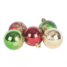 Tube Of Traditional Coloured Decorated Shatterproof Baubles - 5 X 60mm