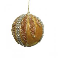 Antique Gold & Gold Velvet & Beaded Bauble - 100mm