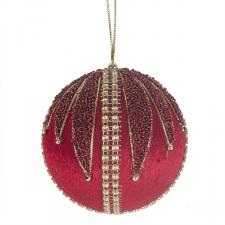 Red & Gold Velvet & Beaded Bauble - 100mm