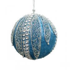 Turquoise & Silver Velvet & Beaded Bauble - 100mm