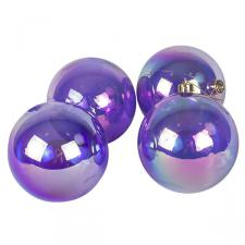 Purple Tinted Shatterproof Baubles With Iridescent Finish - Pack Of 4 X 100mm