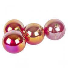 Red Tinted Shatterproof Baubles With Iridescent Finish - Pack Of 4 X 100mm