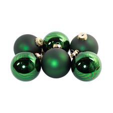 Tub Of Dark Green Shiny & Matt Glass Baubles - 6 X 80mm
