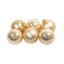 Tub Of Pearl Shiny & Matt Glass Baubles - 6 X 80mm