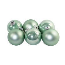Tub Of Pale Sage Green Shiny & Matt Glass Baubles - 6 X 80mm