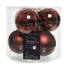 Tub Of Rosewood Brown Shiny & Matt Glass Baubles - 6 X 80mm