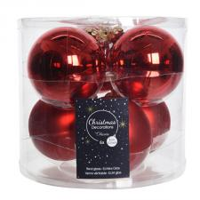 Tub Of Christmas Red Shiny & Matt Glass Baubles - 6 X 80mm