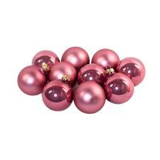 Tub Of Velvet Pink Shiny & Matt Glass Baubles - 6 X 80mm