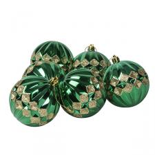 Green Ribbed Shatterproof Baubles With Gold Glitter Diamond Design - Pack of 6 x 80mm