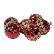 Red Ribbed Shatterproof Baubles With Gold Glitter Diamond Design - Pack of 6 x 80mm