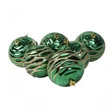Green Rippled Shatterproof Baubles With Glitter Pattern - Pack of 6 x 80mm