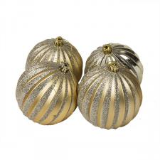 Gold Ribbed Baubles With Gold Glitter Finish - Pack of 4 x 100mm