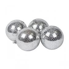 Silver Crackle Finish Shatterproof Bauble - Pack Of 4 X 80mm
