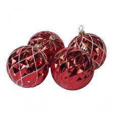 Shatterproof Red Facetted Christmas Baubles - Pack Of 4 X 80mm