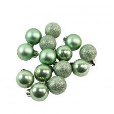 Tube Of Plain Sage Green Shatterproof Baubles - 14 X 30mm