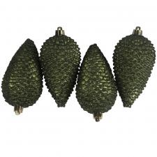 Pack Of 4 Large Dark Green Shatterproof Pinecone Decorations - 7cm X 12cm