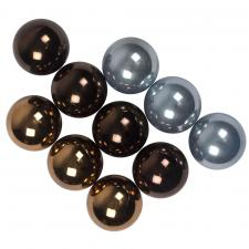 Tube Of Blue & Brown Assorted Shatterproof Baubles - 10 X 60mm