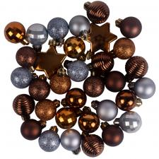 Ice Blue, Brown & Cognac Assorted Shatterproof 33 Piece Decorating Pack
