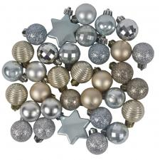 Pale Blue, Silver, Pale Brown Assorted Shatterproof 33 Piece Decorating Pack