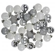 Silver & White Assorted Shatterproof 33 Piece Decorating Pack