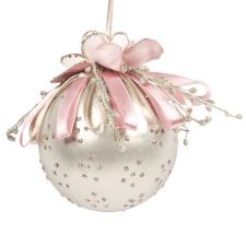 Decorative 100mm Bauble With Flower And Ribbon Detail - Dusky Pink & Platinum