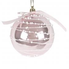 Shiny Blush Pink Shatterproof Bauble With Glitter Swirls & Pink Bow - 80mm