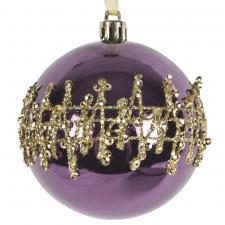 Dark Lavender Shatterproof Bauble With Gold Glitter Design - 80mm