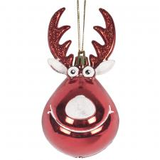 Red & White Shiny Shatterproof Reindeer Bauble - 11cm