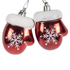 Red And White Shiny Shatterproof Mitten Bauble - 3cm X 5cm X 7cm