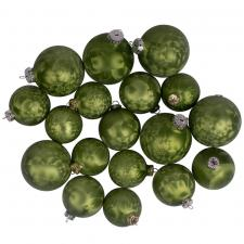 Ice Finish Avocado Glass Baubles Assorted Pack Of 18
