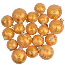 Ice Finish Saffron Glass Baubles  Assorted Pack Of 18