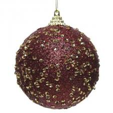 Dark Red Glitter And Sequin Finish Bauble - 80mm