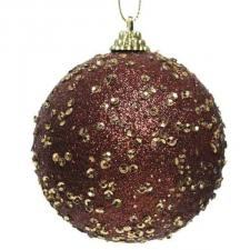 Rosewood Brown Glitter And Sequin Finish Bauble - 80mm
